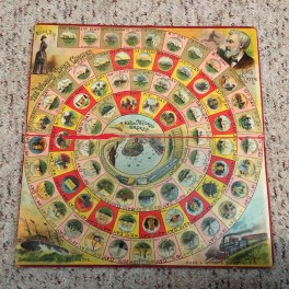 For 72 days between November 1889 and January 1890 journalist Nellie Bly travelled, alone, around the world in emulation of a character in a Jules Verne story. This board game honored the legacy. It emerged from my old family trunk.