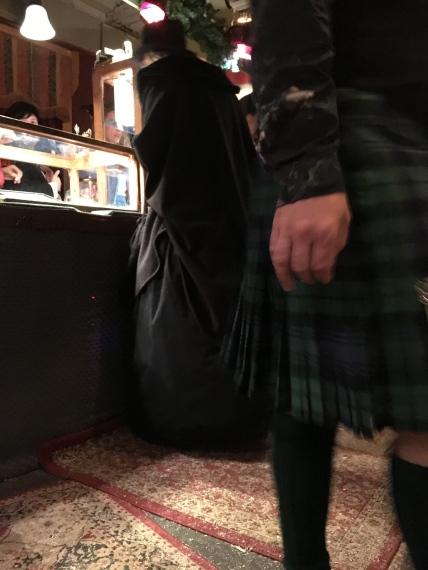 Widow weeds meet Highlands kilt at the jewelry shop